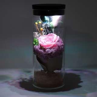 LED Glass Real Flower Display Bell Jar Dome Immortal Preservation Love shape Glass Jar Rose Colour Valentine