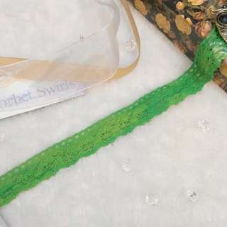 [Roll] Green Tie Dyed Style Cotton Lace Trim