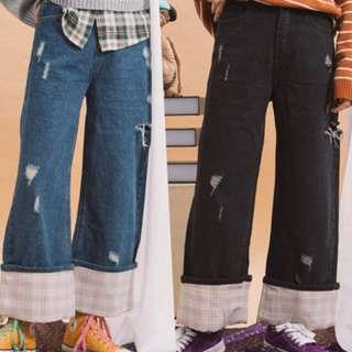 wooplanet 購入 破洞丹寧大反折拼格紋寬褲