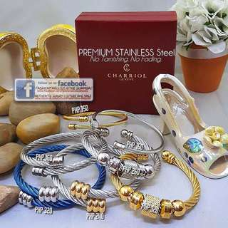 Cable Open Bangle with Charms