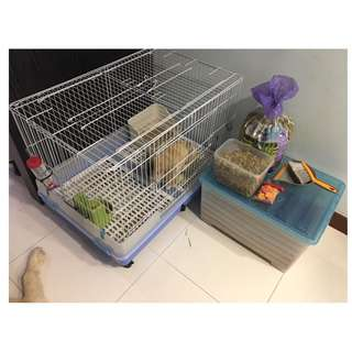 Pet Cage with Food Bowl & Sanitary Accessories