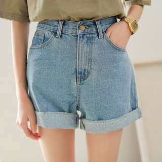 PO | Roll Up Mom Denim High Waist Shorts