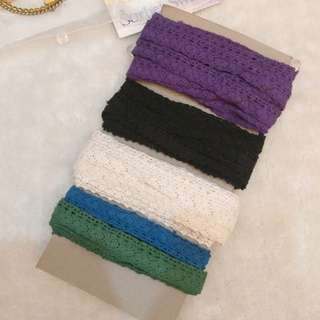 [Roll/Meter] Colored cotton Lace trims