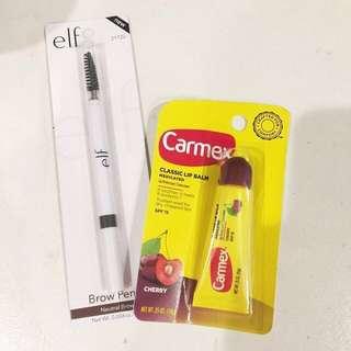 Elf Eyebrow Pencil and Carmex Lip Bundle