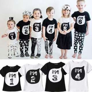 🐰Instock - number shirt, baby infant toddler girl boy children glad cute 123456789