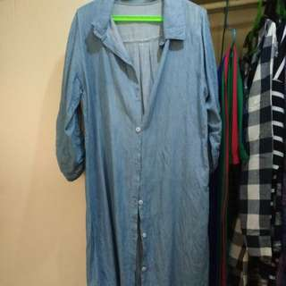Denim shirt long polo