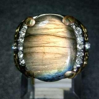 Cincin Batu Akik Labradorite Klep Golden