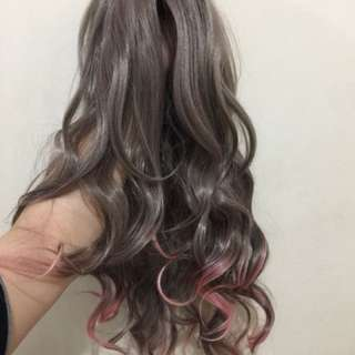 Gray to pink ombre wig