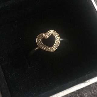 Pandora gold and silver heart ring