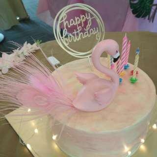 Birthday Cake Toppers Set- Flamingo Theme