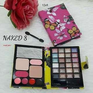 NAKED8 Make Up Wallet 71.000 - 4 warna Lip Cream + 2 Blush On + 2 Powder + 24 Eyeshadow + Kuas Mini