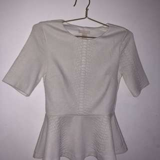 White Peplum Blouse H&M