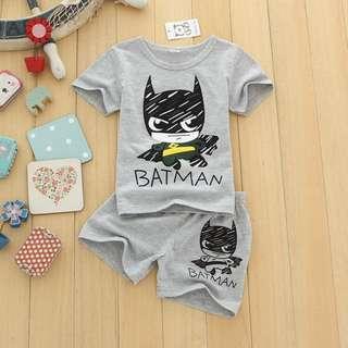 3 colours available, batman toddler set clothes shirt and pants shorts boys grey yellow blue