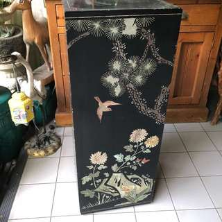 Antique Japanese black lacquer sculpture stand
