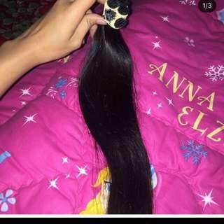 Rambut sambung 100 helai pnjng 70 cm wrna hitam best seller bgt