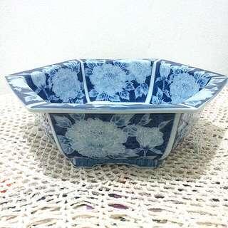Japan Blue & White Hexagon Vase