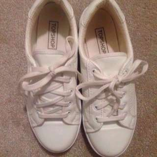 White Leather TopShop shoes