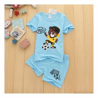4- 5yr Old Teddy Bear Set Soccer With Daddy Toddler Children baby t shirt pants daily wear clothes cotton