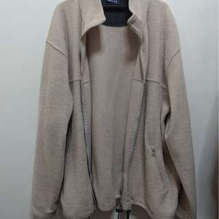 Tan Fuzzy Sweater with Zipper