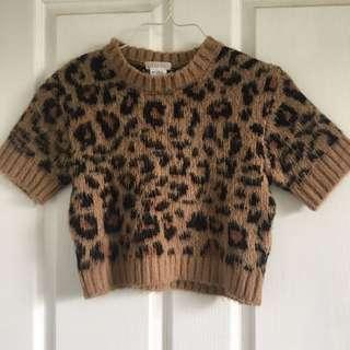 Cropped leopard print knit