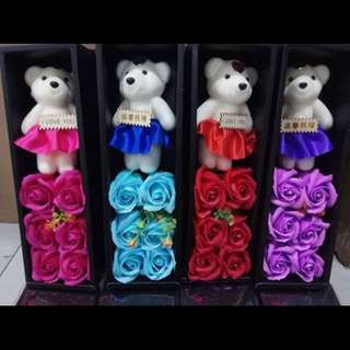 Valentines Gift Box of Soap Flowers with Stuffed Toy