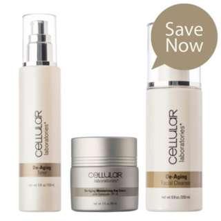 Cellular Laboratories® Skincare Value Kit - Includes De-Aging Facial Cleanser, De-Aging Toner and De-Aging Day Crème with SPF 20