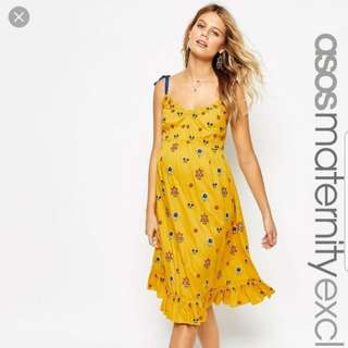 ASOS Maternity Midi Dress with Floral Embroidery