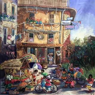 Watercolour artwork on canvas - A Day At The Market (Original)