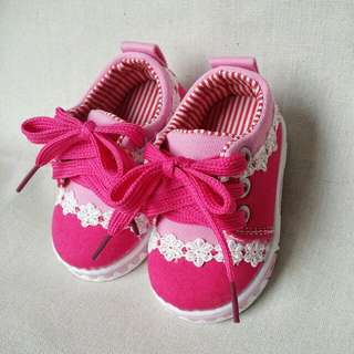 Cute Baby Pink Canvas Lace Shoes