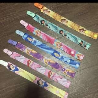 Pacifier clip with disney princess designs belle aurora jasmine cinderella rapunzel snow white
