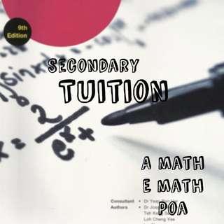 O level upper sec tuition aemath n poa full time graduate tutor