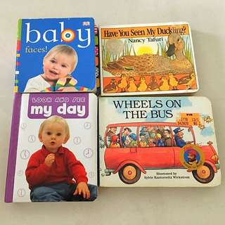 Bundle of 4 Board Books (Wheels on the Bus, Have you Seen my Duckling etc)