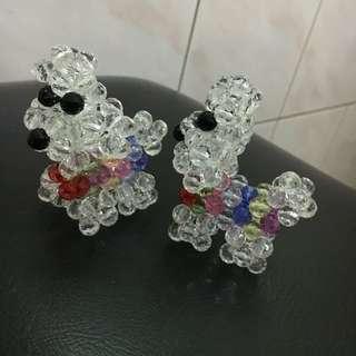 水晶串珠 貴賓狗 純手工製作 狗年行大運 風水擺設品 獨一無二