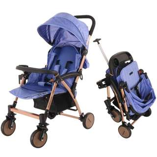 LIGHT WEIGHT TRAVEL BABY STROLLER EASY FOLDS AND PULL RETRACTABLE HANDLE ROD