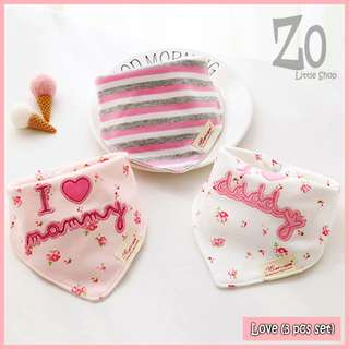 100% Cotton Mom's Care Baby Drool Bibs - Love (3pcs Set)