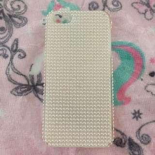 iPhone 4 white plastic pearl phone case