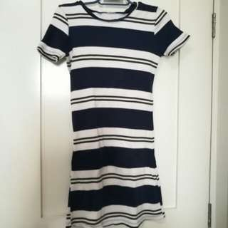 White and Navy Blue Dress