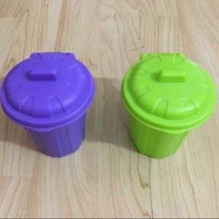 30% OFF GREAT CNY GIFT/SALE {Stationary - Mini Dustbin} BN One Pair Of Very Cute Green & Purple Mini Dustbin