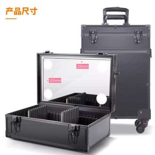 Professional makeup trolley case with dual LED lights, Mirror and power point,