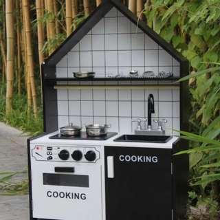 (PO) BN Wooden Black & White Kitchen Play Set