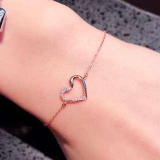情人節禮物❤️心心18k玫瑰金天然鑽石手鏈🎁可愛浪漫女朋友生日禮物