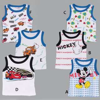 3 for $10 boys singlet lightning mcqueen or mickey mouse series toddler children baby kids