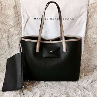Marc by Marc Jacobs Metropolitote 48 Black and Taupe Etched Leather Bag