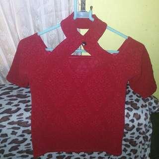 Red Crop top off shoulder