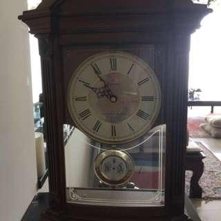 "Alletron 17 1/2"" high. Triple chime Bulova mantel clock."
