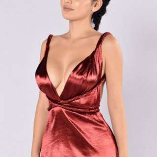 Red Satin Fashion Nova Versatile Dress