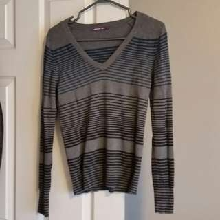 Smart set ladies Grey and blue striped v-neck sweater