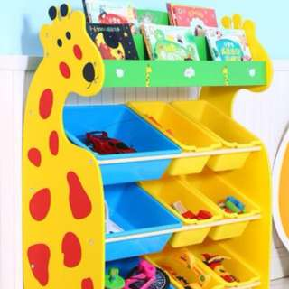 Toy Storage Rack 100cm - Giraffe design with book shelf (include door step delivery)