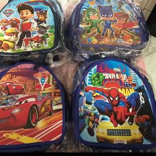 Instock now !! While stock last !! Kids goodies bag .. durable as it can still use after events as casual bag .. character - pj mask/paw patrol/ spiderman /mc queen