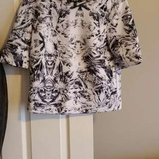Two piece matching scuba crop top and skirt white with navy print, size medium